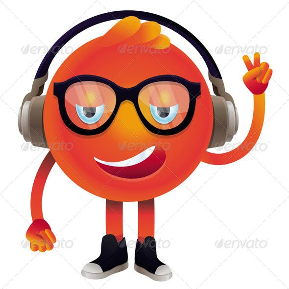 Funny Monster with Headphones and Glasses