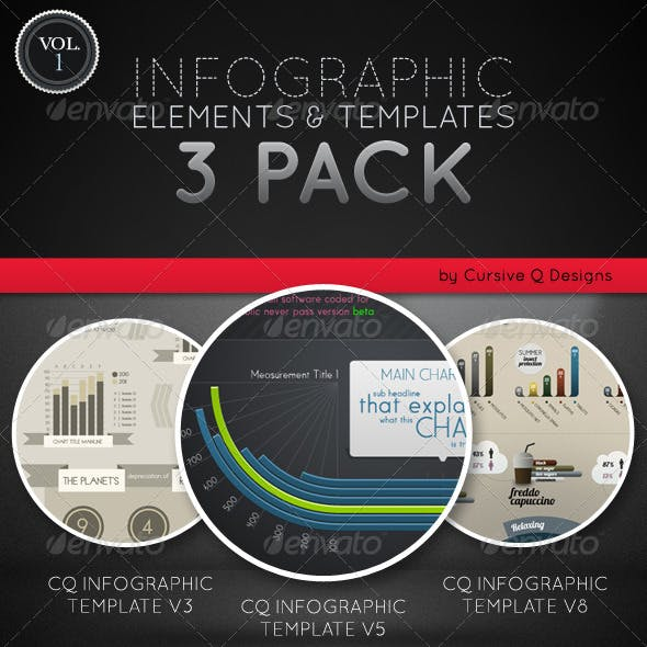 Infographic Elements and Templates 3 Pack Vol. 1