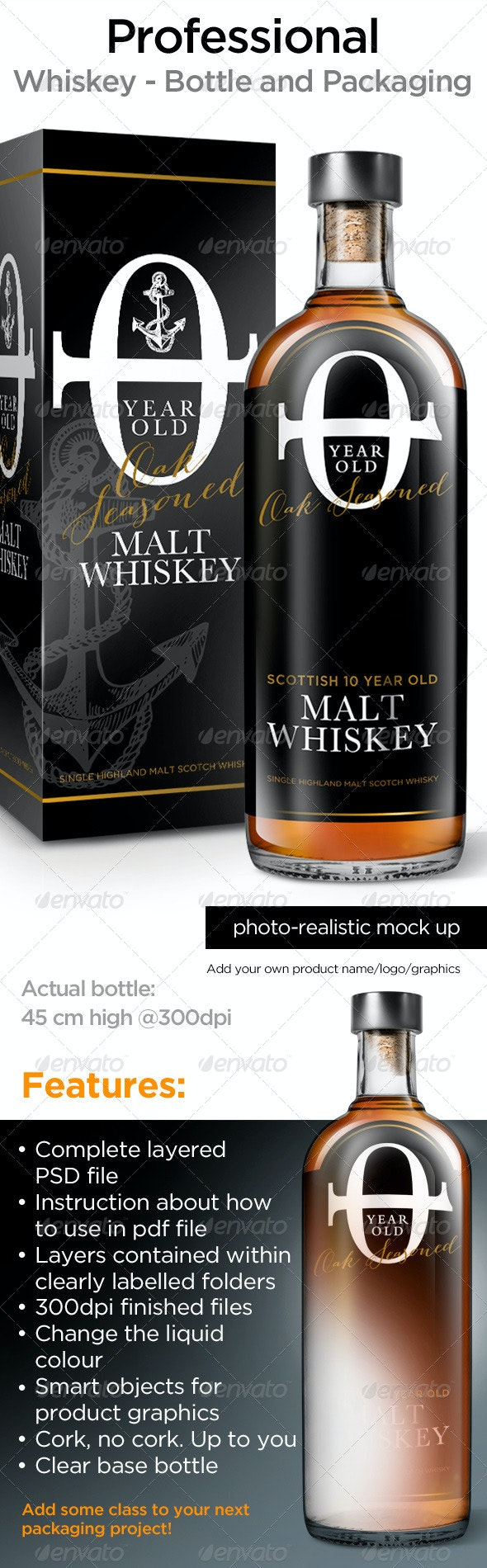 Whisky Bottle Mock Up - Food and Drink Packaging