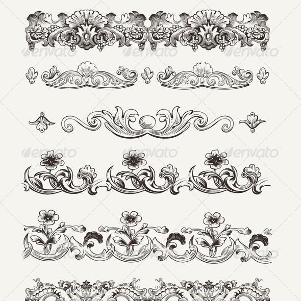 Set of Original Vintage Calligraphic Design Element