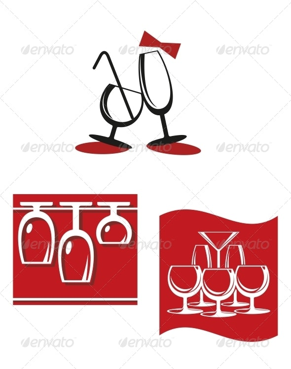 Alcohol Glasses for Bar Menu Design - Food Objects