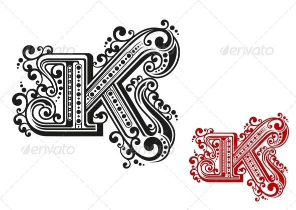 Letter K in Retro Vintage Style - Decorative Symbols Decorative