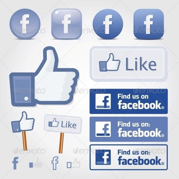 Facebook Social Set Icon Button Like Symbol - Web Technology