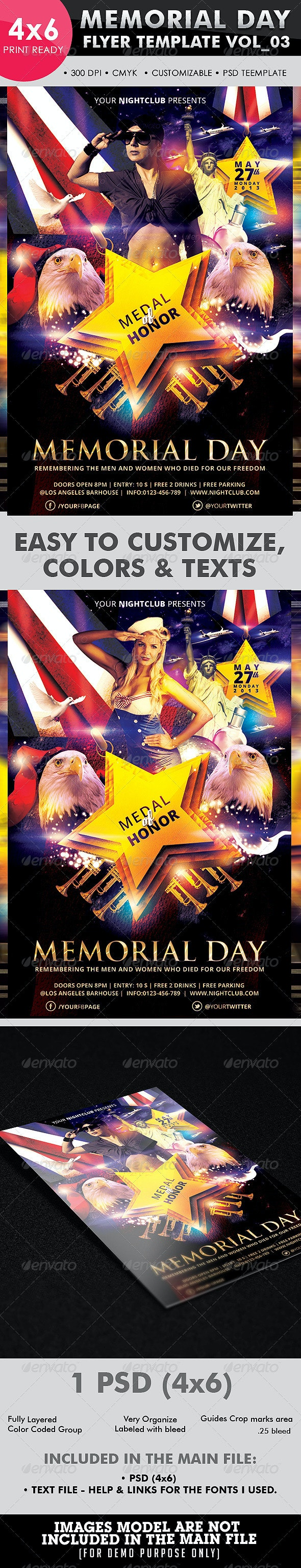 Memorial Day Flyer Template Vol 03 - Clubs & Parties Events