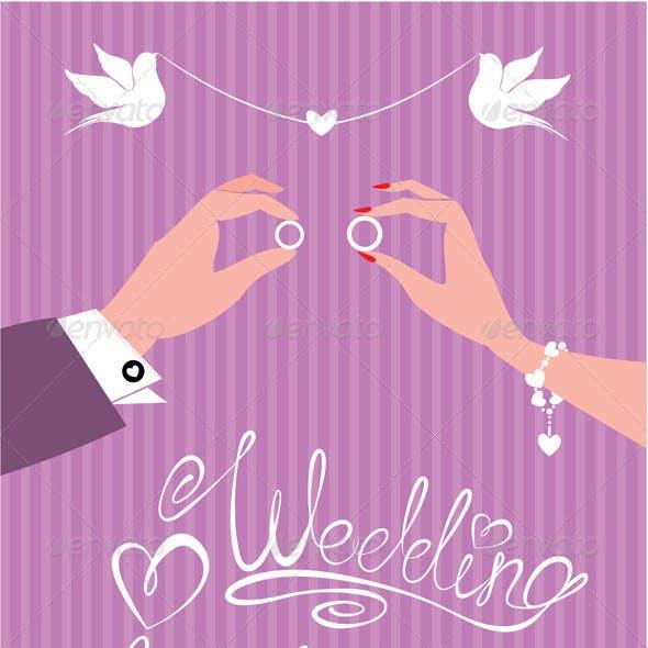 Wedding Invitation - Groom and Bride Hands