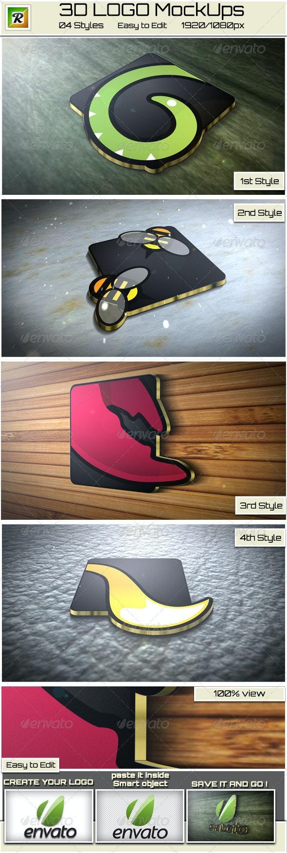 Realistic 3D Logo Mock-up - Logo Product Mock-Ups
