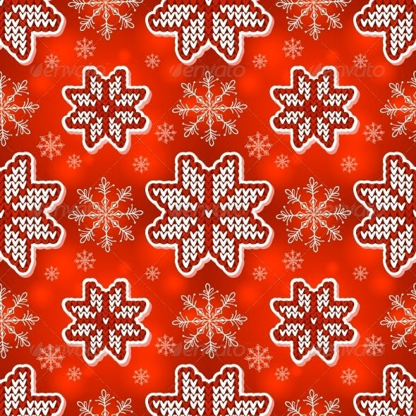 Red Christmas Embroidery Seamless Pattern