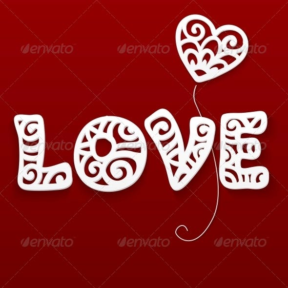 Vector Cut Out Paper Lacy Love Sign