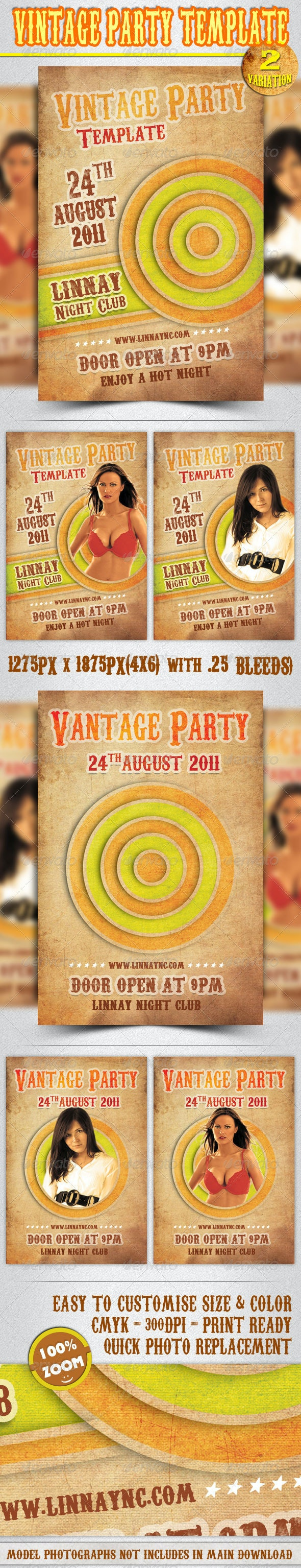 Vintage Party Template (2 in 1) - Clubs & Parties Events