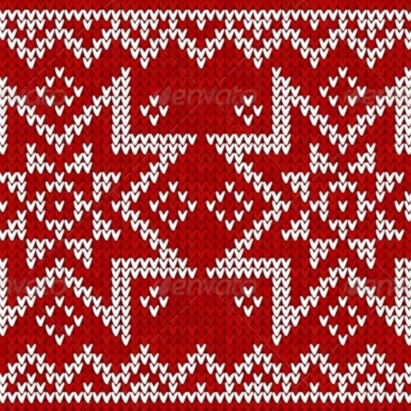 Red Knitted Stars Sweater in Norwegian Style