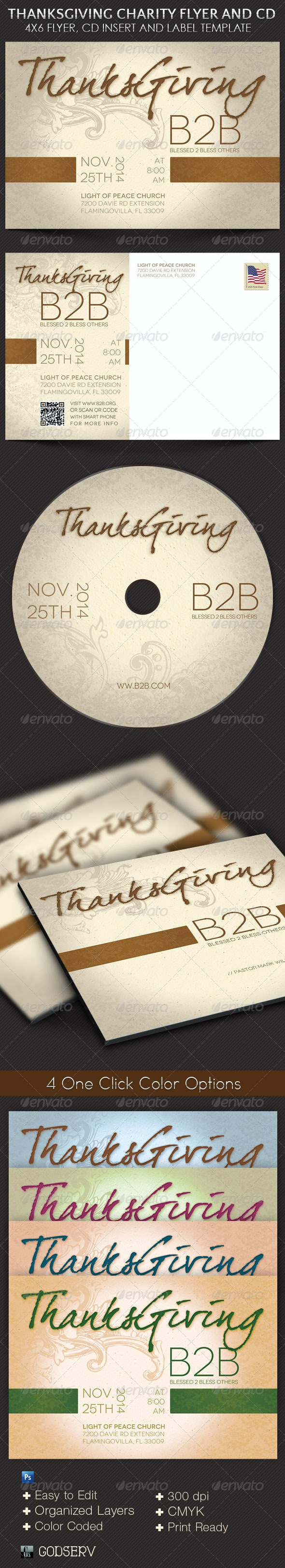 Thanksgiving Charity Flyer CD Template - Church Flyers