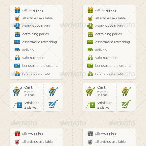 E-commence Icons (Carts & Preferences)