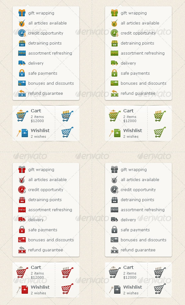 E-commence Icons (Carts & Preferences) - Web Icons