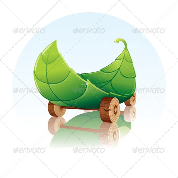 Green Car Concept. Transport from Organic Material - Decorative Symbols Decorative