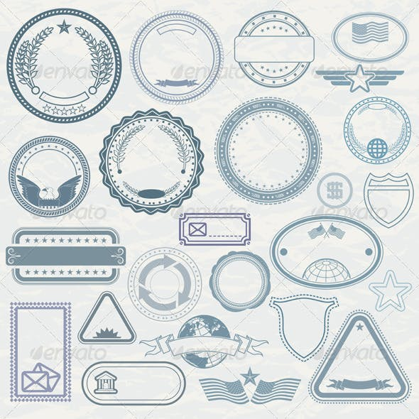 Templates of Rubber Stamps. Vector Pack