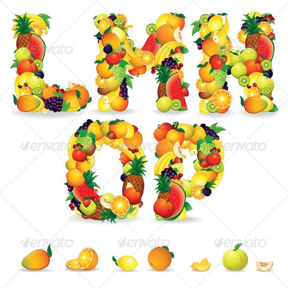 Colorful Letters from Fruits  Vector Clip Art