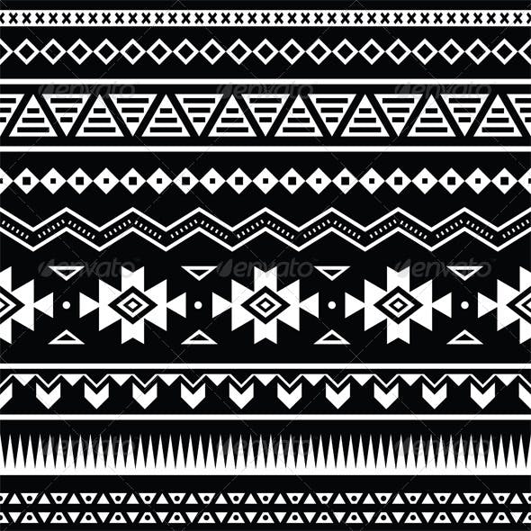 Aztec Seamless Pattern, Tribal Black and White