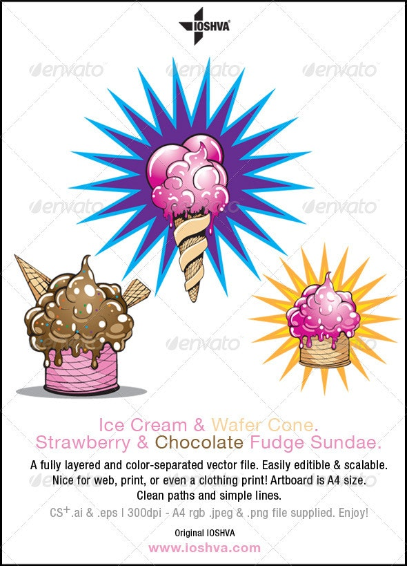 Ice Cream Cone and Ice Cream Sundae - Food Objects