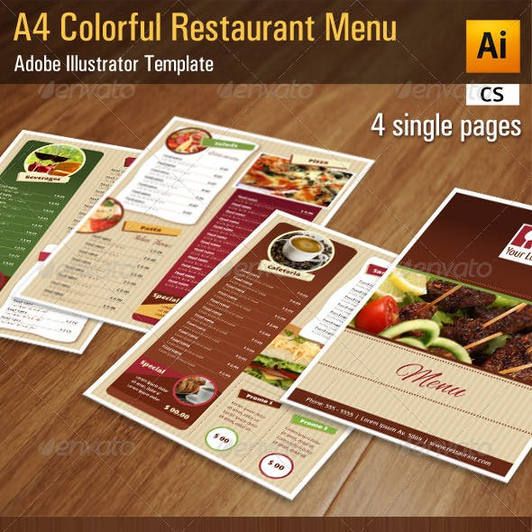 A4 Colorful Restaurant / Bar Menu