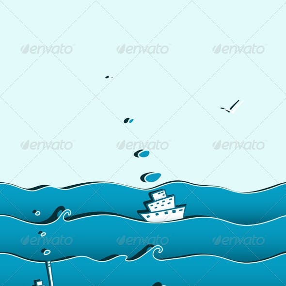 Ocean or Sea Background with Ships