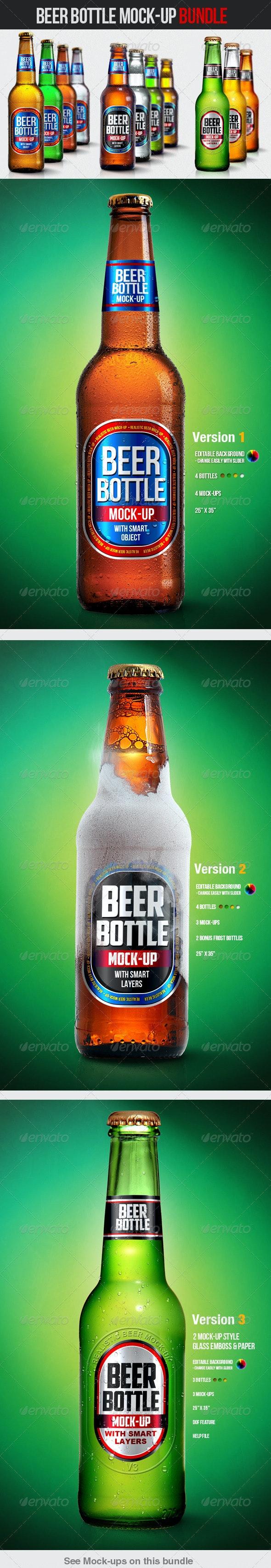 Beer Bottle Mock-Up Bundle - Food and Drink Packaging