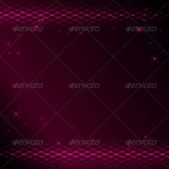 Crimson background with bright tracery and stars