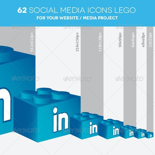 62 Social Media Icons Lego