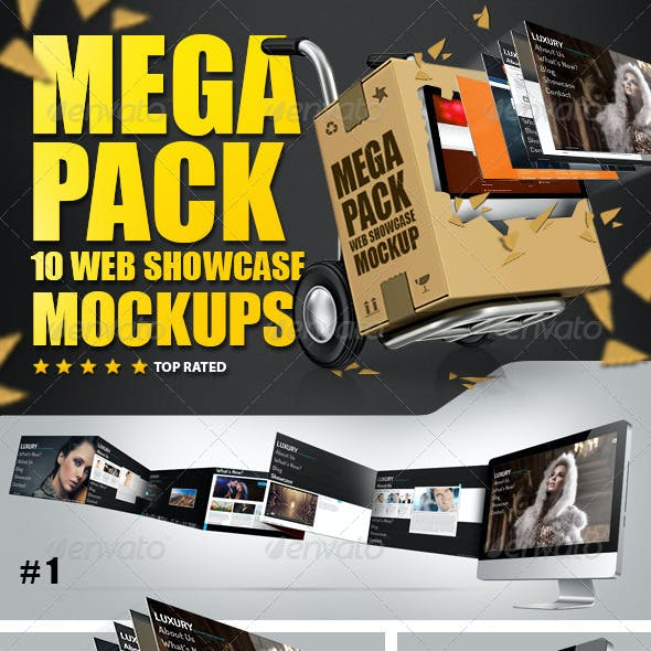10 Web Showcase MockUps Mega Pack