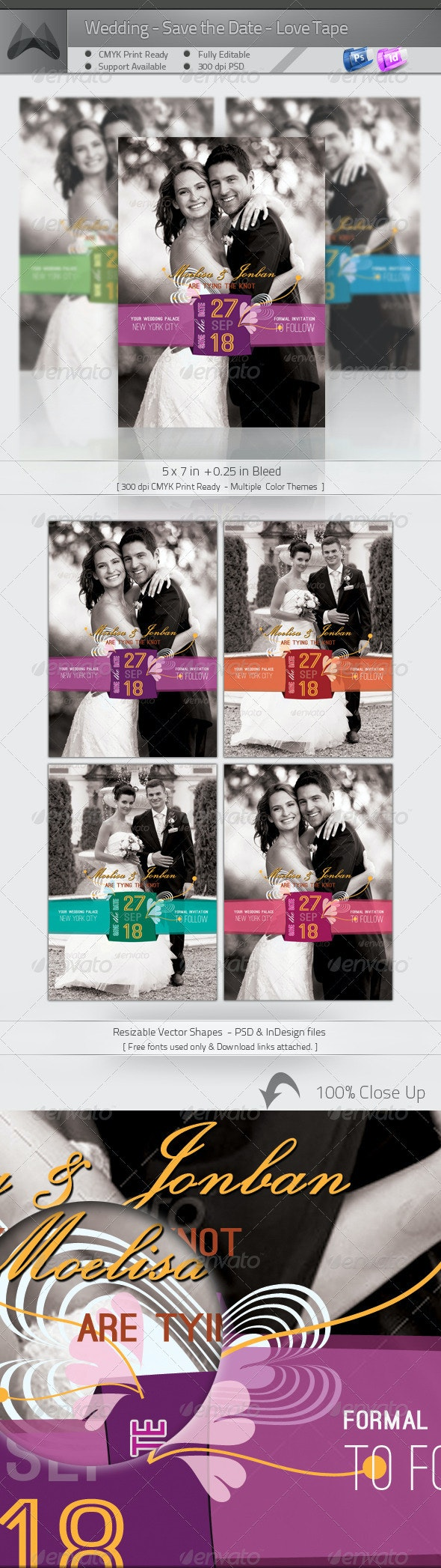 Wedding - Save the Date - Love Tape - Weddings Cards & Invites