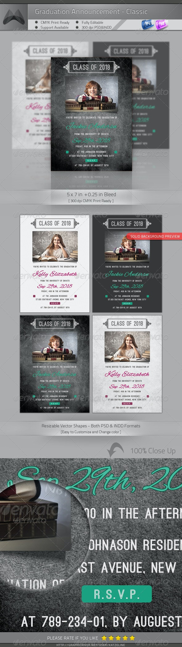 Graduation Announcement - Classic - Invitations Cards & Invites