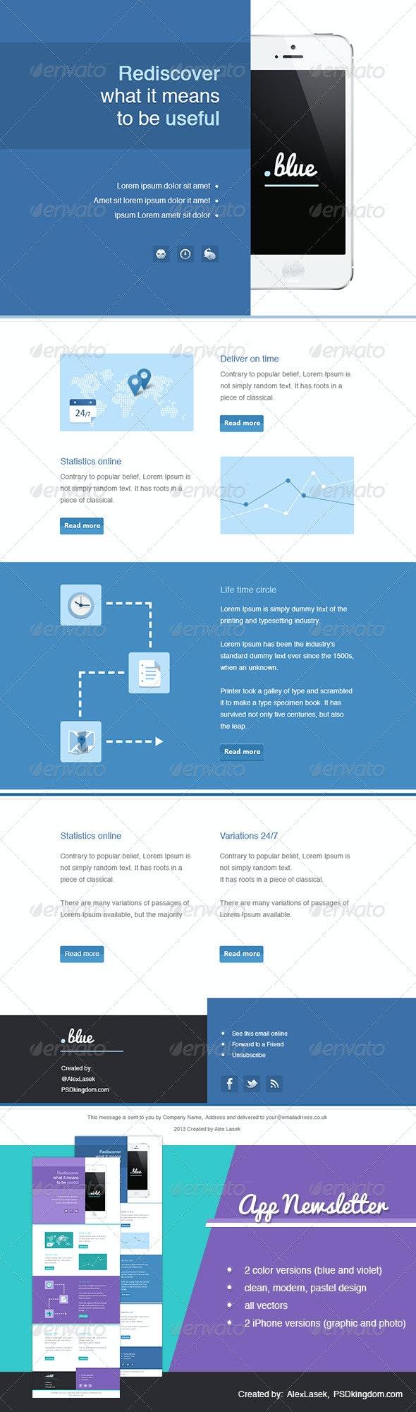 App eNewsletter Templates - Blue & Violet - E-newsletters Web Elements