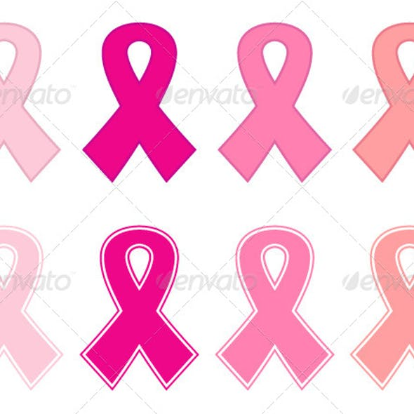 Pink Cancer Ribbon Set