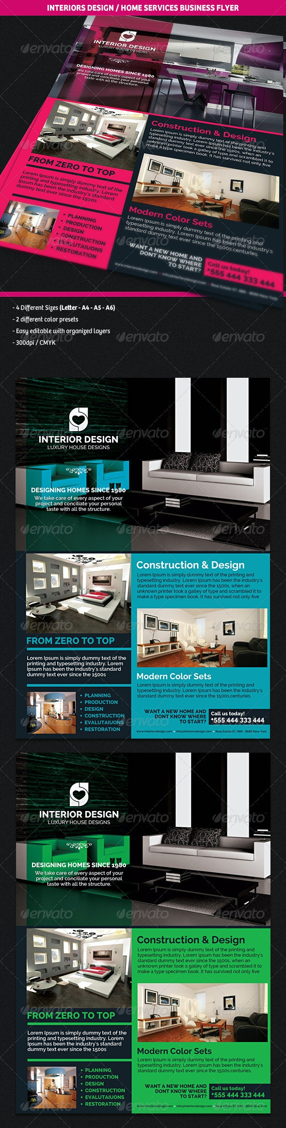 Interiors Design & Home Services Business Flyer - Corporate Flyers