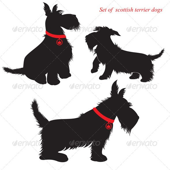 Scottish Terrier Dog Silhouettes