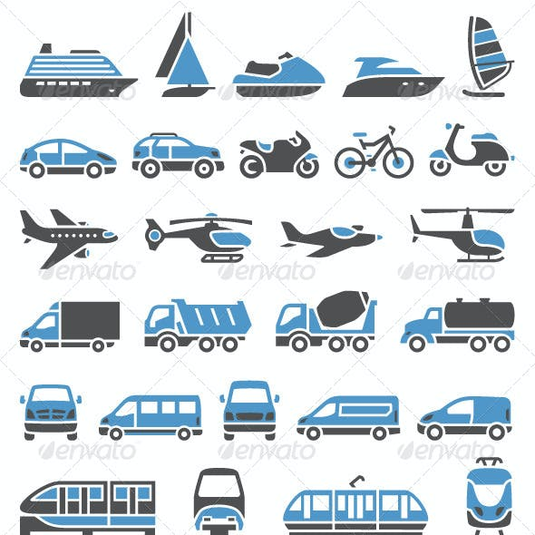 93 Transport Icons Set