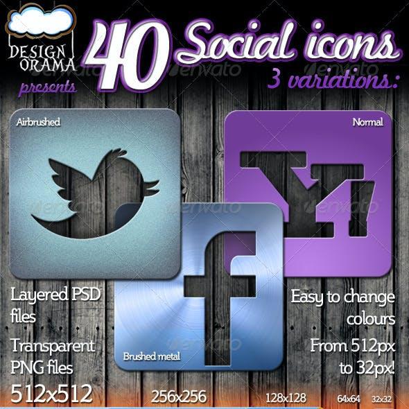 40 Social Icons - Airbrush, Brushed Metal & Normal