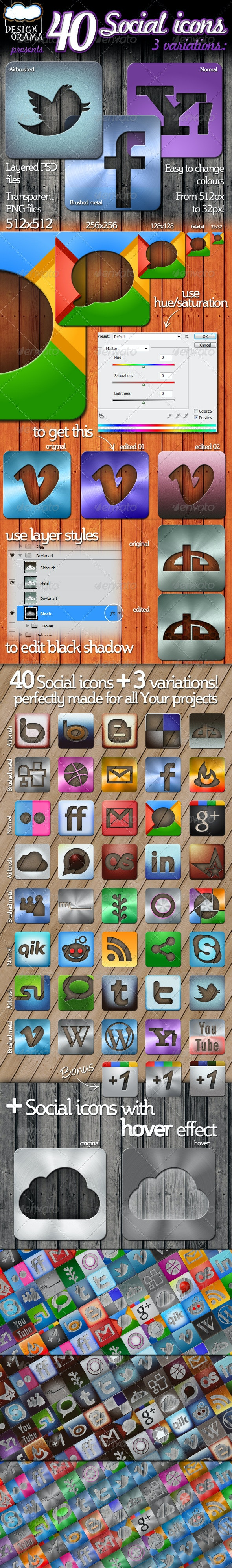40 Social Icons - Airbrush, Brushed Metal & Normal - Web Icons