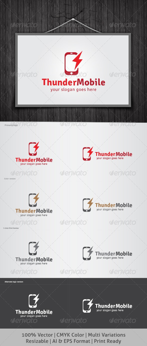 Thunder Mobile Logo - Objects Logo Templates