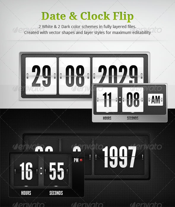Flip Clock and Date by invash | GraphicRiver