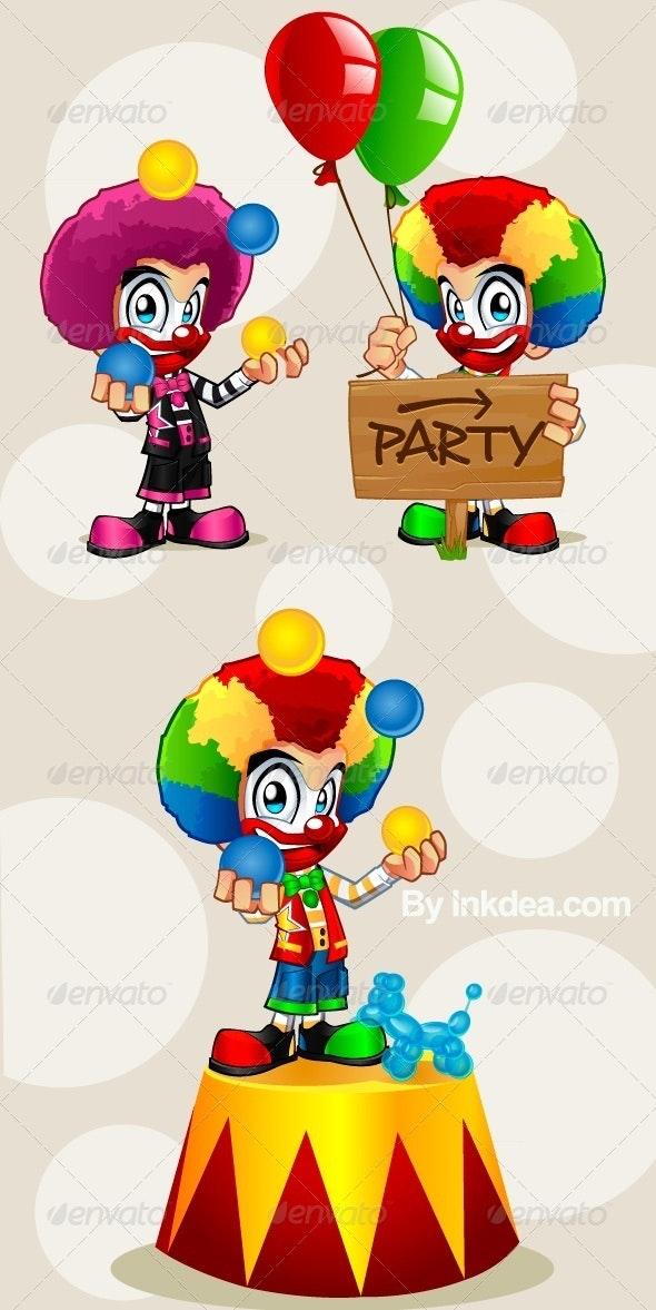 Afro Clown Mascot/Cartoon - Characters Vectors