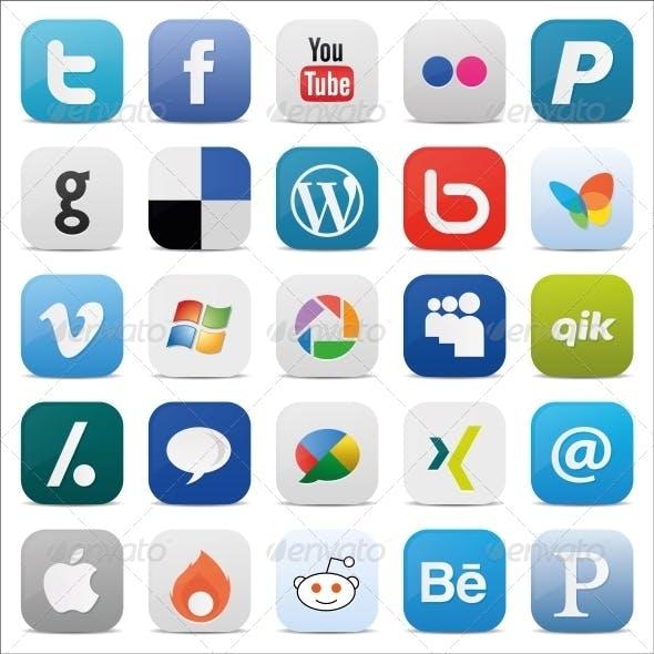 Social Media Icons Square