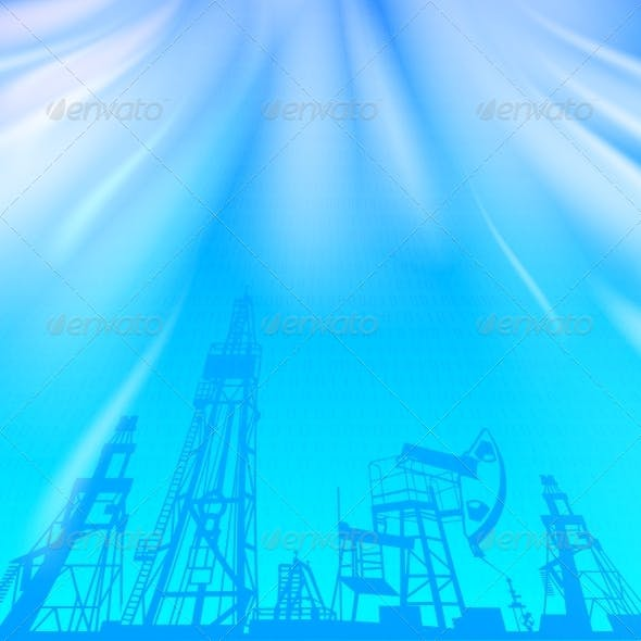 Oil Rig and Pump over Blue Luminous Ray