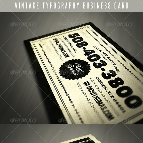 Vintage Typography Business Card