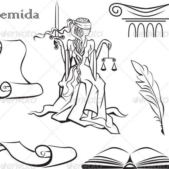 Set of Justice Symbols. Book, Column, Pen, Scroll