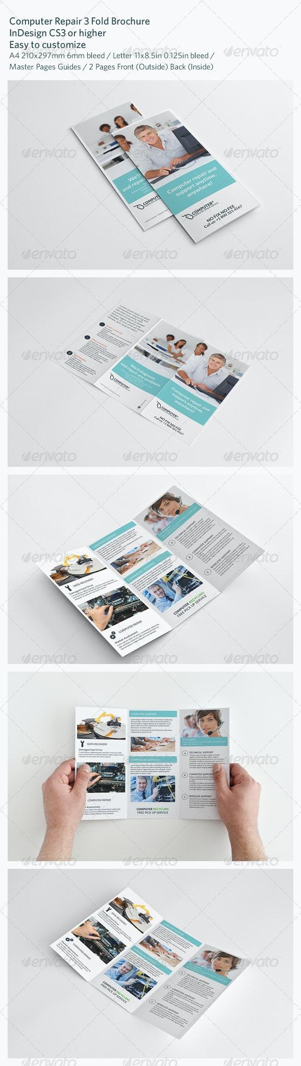 Computer Repair 3 Fold Brochure - Brochures Print Templates
