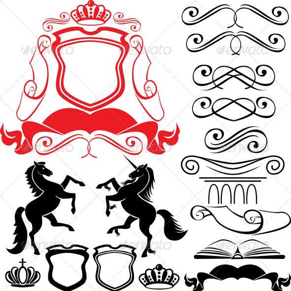 Set of Heraldic Silhouettes Elements
