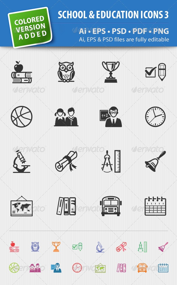 School and Education Icons-Set 3 - Web Icons