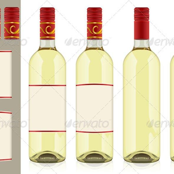 Four Wine Bottles on White Background