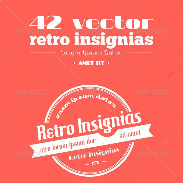 42 Vector Retro Insignias. Banners and Badges