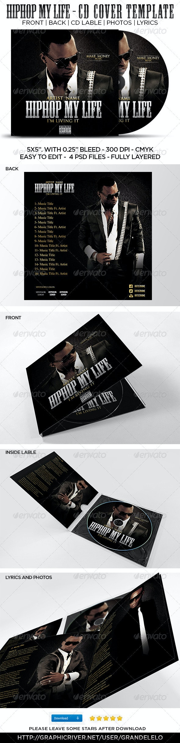 Hip Hop My Life CD Cover Template  - CD & DVD Artwork Print Templates